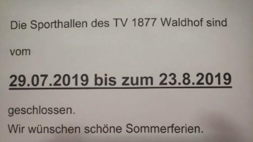 Sommerpause beim TV Waldhof